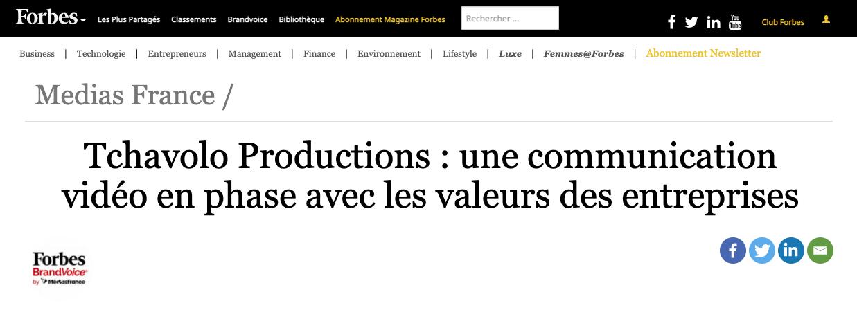 Tchavolo Productions à l'honneur sur Forbes